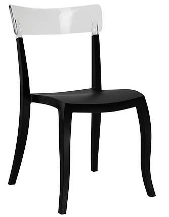 Стул Hera-S сиденье Черное верх Прозрачно-чистый (Papatya-TM), фото 2