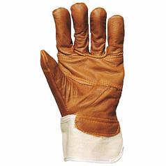 Перчатки строительные из натуральной мебельной кожи с х/б. Размер 10