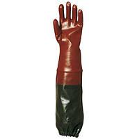 Перчатки покрытые ПВХ, длина 70 см. Размер 10