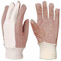 Перчатки тканые х/б, с ПВХ точкой
