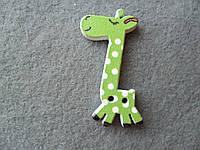 Зеленый жираф, деревянная пуговица