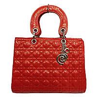Женская сумка Dior 1181 красного цвета классическая стеганая лаковая