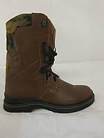 Кожаные берцы коричневый камуфляж (военная обувь, армейские берцы, камуфлированные берцы)