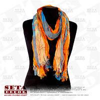 Стильный яркий оранжево-синий шарф