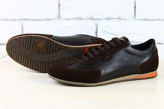 Кроссовки мужские в стиле  Lacoste коричневые кожаные