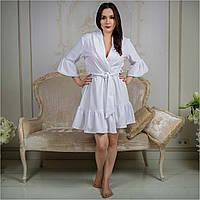 Велюровый халат с кружевом и воланами от Guddini 027 S (42-44) белый