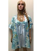 Женский шелковый и халат и рубашечка