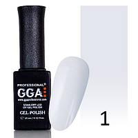 Гель-лак GGA №1 (белоснежно-белый, эмаль) 10 мл.