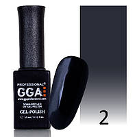 Гель-лак GGA №2 (угольно-черный, эмаль) 10 мл.