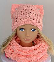 Детская весенняя  Шапка+ шарф хомут  ажурная Амели