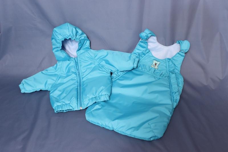Демисезонный конверт «Двойка» (курточка+конверт) бирюзовый
