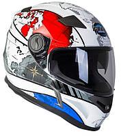 Шлем GEON 952 Интеграл White-Blue (Maps), фото 1