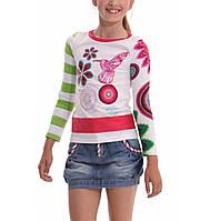 Испанская брендовая футболка с длинным рукавом с колибри, один рукав в салатовую полоску, окантовка малиновая
