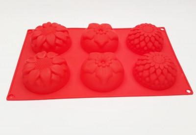 Форма силиконовая для выпечки Цветы ассорти 6 мелкие