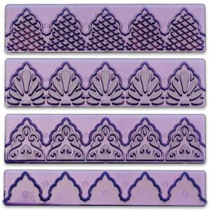 Вырубка для мастики фиолетовая ажурная из 4х