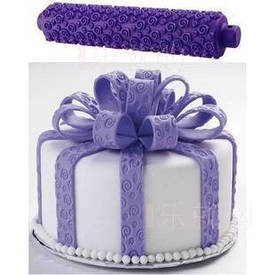 Скалка рельефная для мастики и теста фиолетовая