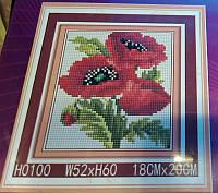 """Мозаика H0100 алмазная 5D 18х20см """"Букет маков"""""""