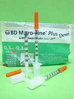 Шприц инсулиновый BD MicroFine Plus Demi U-100 30G(0.3х8мм) (10шт)