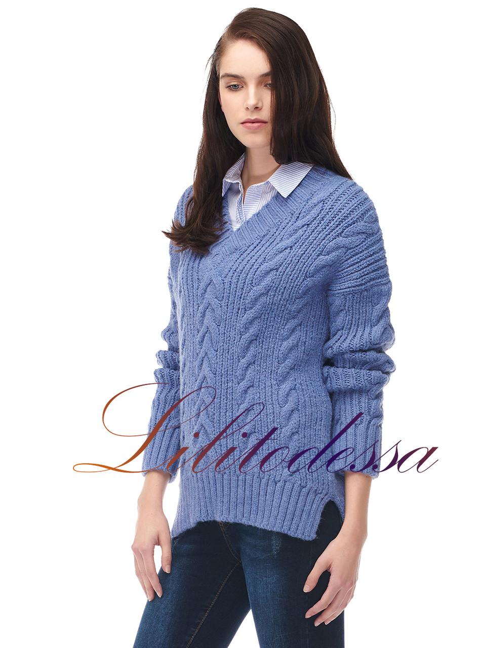 Пуловер женский крупной вязки