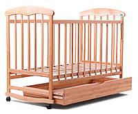 """Детская кроватка """"Наталка"""" Ольха  с ящиком+опускающийся бок+колеса+дуги"""