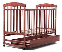 """Детская кроватка """"Наталка"""" Ясень с ящиком+опускающийся бок+колеса+дуги"""