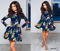 Платье стильное женское 1039 нин (цветов много)
