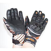 Мотоперчатки кожа/текстиль Atrox Katana Black/Orange, M