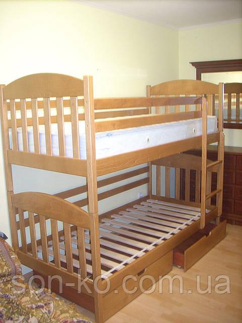 Двоярусне ліжко з масиву буку Максим