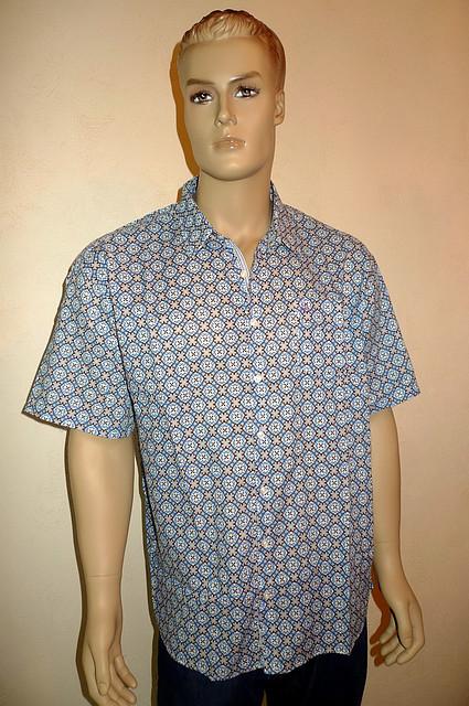 Синяя рубашка Eskola из хлопка с коротким рукавом