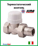 Icma Прямой термостатический вентиль с предварительной настройкой для железной трубы 1/2  Арт. 779