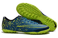 Футбольные сороконожки Nike Mercurial Victory V TF Squadron Blue/Black/Volt, фото 1