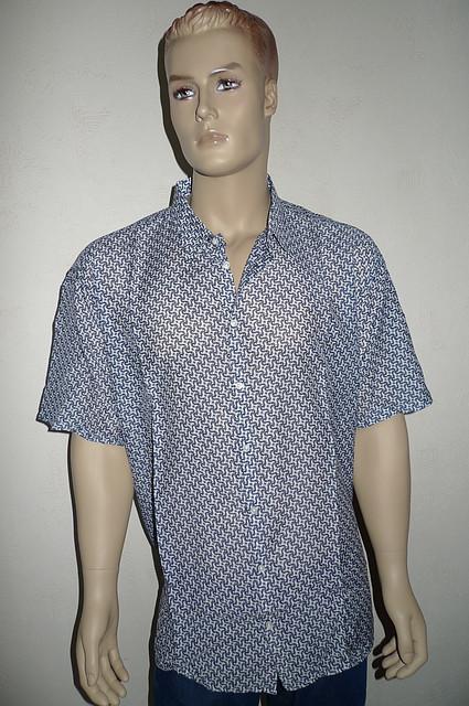 Мужская рубашка с шелком короткий рукав