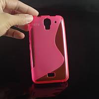 Силиконовый чехол Duotone для Huawei Ascend Y3c розовый, фото 1