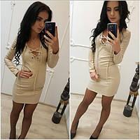 Кожаное платье со шнуровкой, фото 1