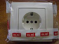 Розетка одинарная с заземлением EL-BI, ZENA Белый