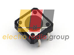 Тактовая кнопка 12х12x 4.3мм, 4pin, шток= 0.8мм