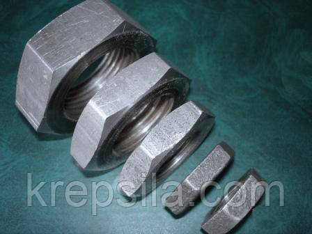 Гайка низька ГОСТ 5916-70, DIN 439, DIN 936, клас міцності 5.0   Фотографії належать підприємству Крепсила