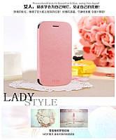 Кожаный чехол книжка MOFI для Huawei Ascend Y600-U20 DualSim розовый