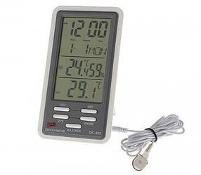 Цифровой термометр dc-802, гигрометр, часы, будильник, календарь, с наружным датчиком, длина провода 2 м