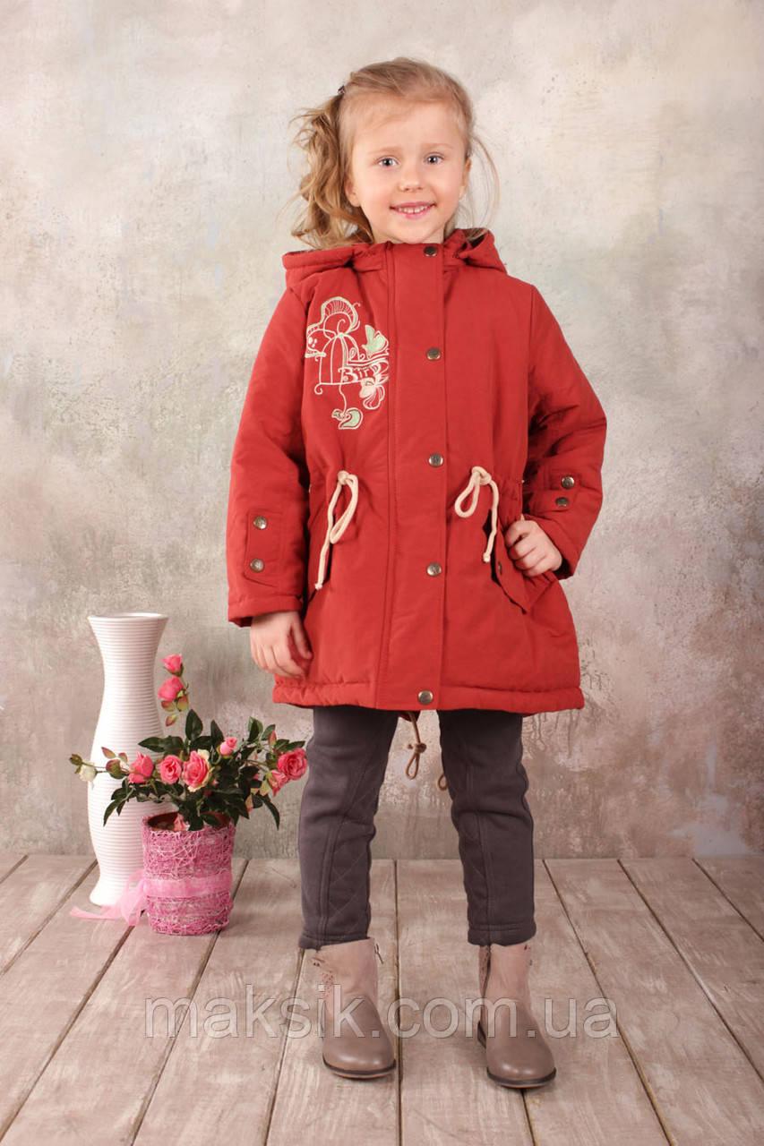 Куртка-парка демисезонная для девочки р.110-128 терракот