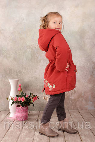 Куртка-парка демисезонная для девочки р.110-128 терракот , фото 2