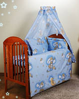 Бортики в кроватку для новорожденных- голубые мишки на лестнице