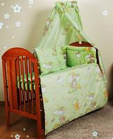 Детские бортики в кроватку- зеленые мишки на лестнице