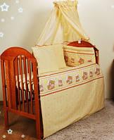 """Охранка, защита на кровать для кроватки детской защитное ограждение бортики бампер-""""Бежевые мишки в кружочек"""""""