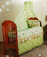 Детское постельное в кроватку из 3-ед- зеленые пчелки на беж. фоне