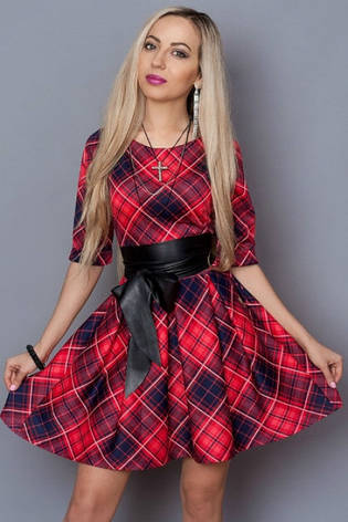 Молодежное платье в клетку с кожаным поясом, фото 2