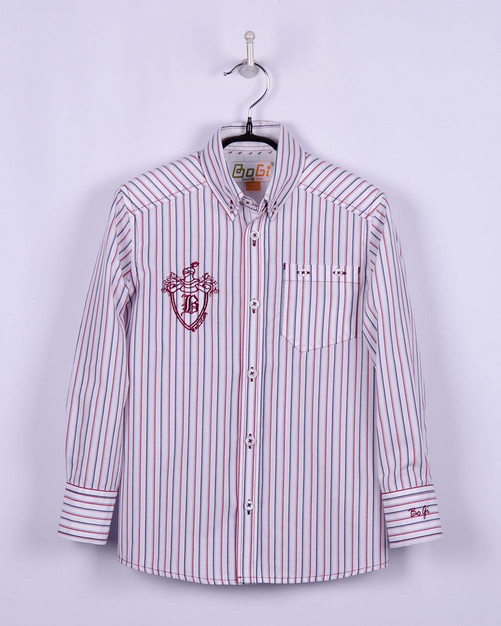 Рубашка для мальчика в красно-синию полоску, BOGI (Божи)