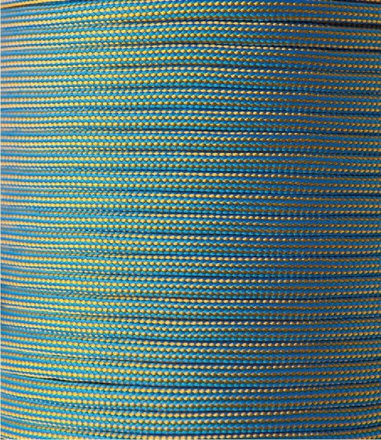 Шнур нейлоновый паракорд голубой с желтым Paracord gold blue