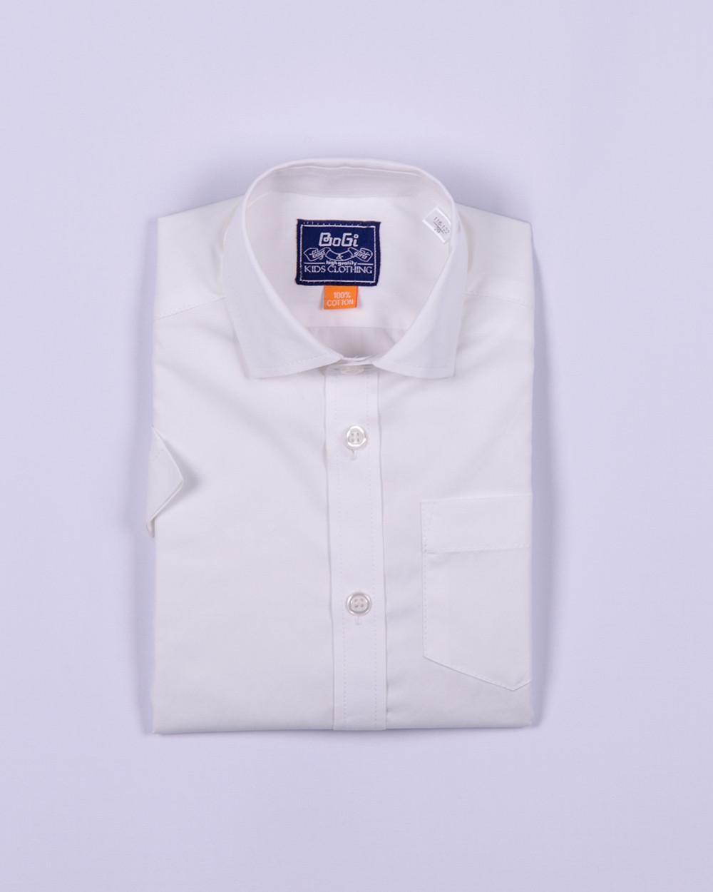 Рубашка классическая короткий рукав, белая, 100% хлопок, BOGI (Божи)