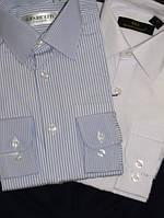 Рубашка классическая длинный рукав, белая в полоску, 80% хлопок, Турция
